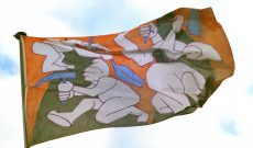 Wishes and Warnings in the Wind, Flag installation, Dusseldorf 1996. Here: Mining Dwarfs (at the 'NRW Forum')