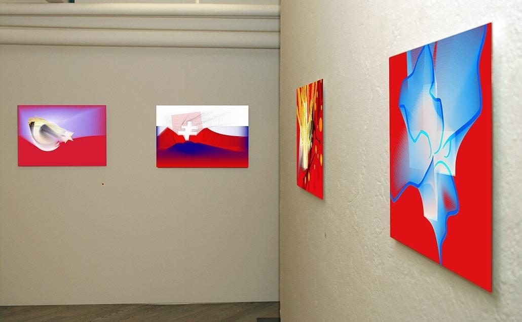 Myriam Thyes in der Einzelausstellung 'Mutable Worlds', Galerie Commercio, Zürich, Schweiz 2005