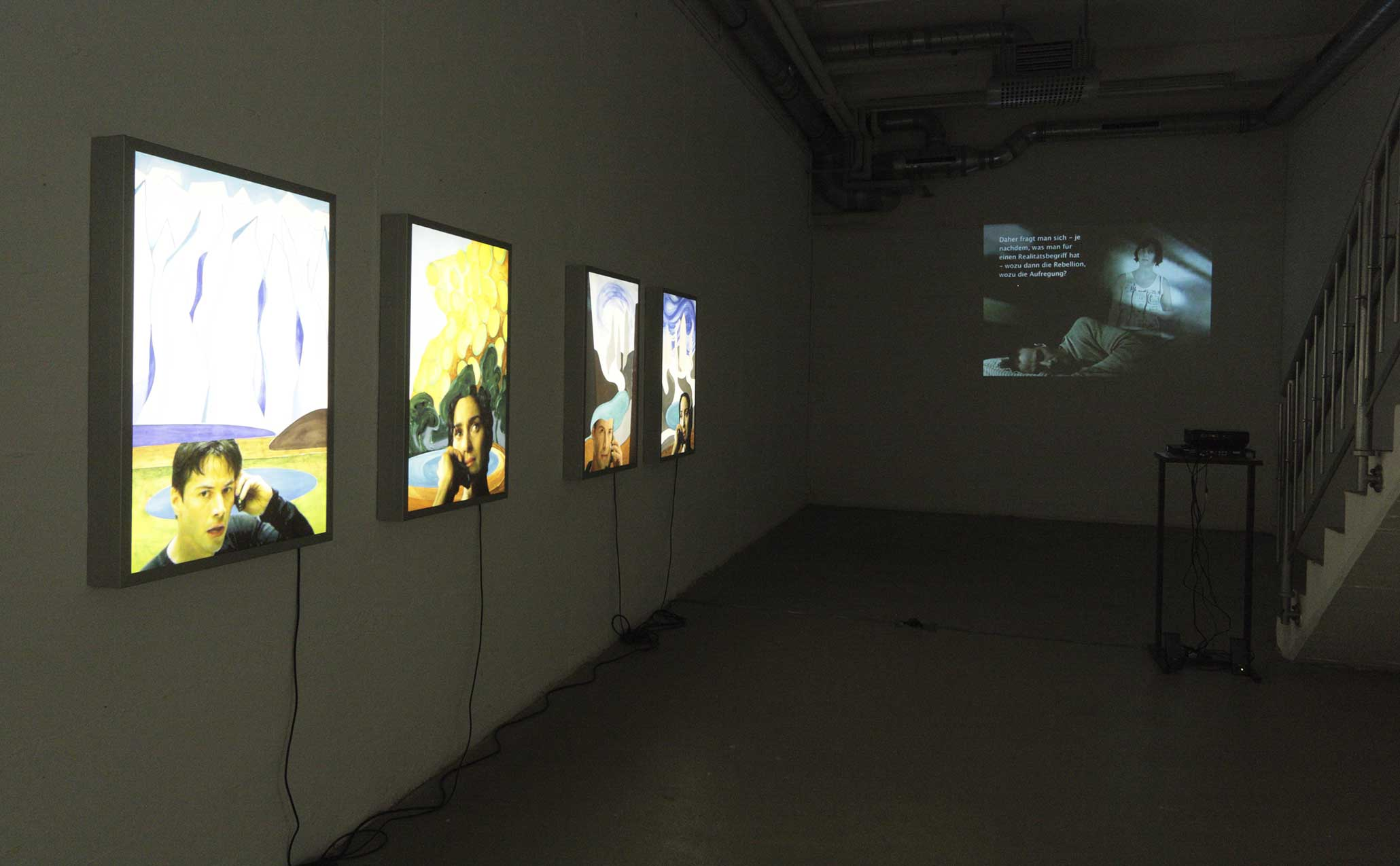 Speeded Up Flags and Slowed Down Heroes, solo show, Kunstverein Rhein-Sieg, Siegburg, DE, 2009. View: 'Patagonia' (2009), 'Virtual Therapy' (2007).