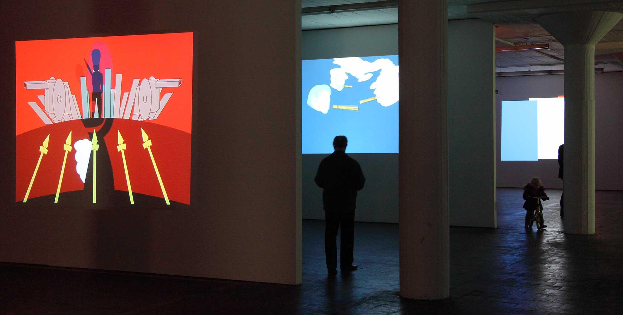 Flag Metamorphoses - Ausstellung des partizipativen Projektes von Myriam Thyes, 10 Projektionen, Halle Zehn, Köln, 2010