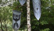 Global Vulva Flags in der Ausstellung 'Yesterday - Tomorrow', Kulturort Weiertal, Winterthur, CH, 2014.