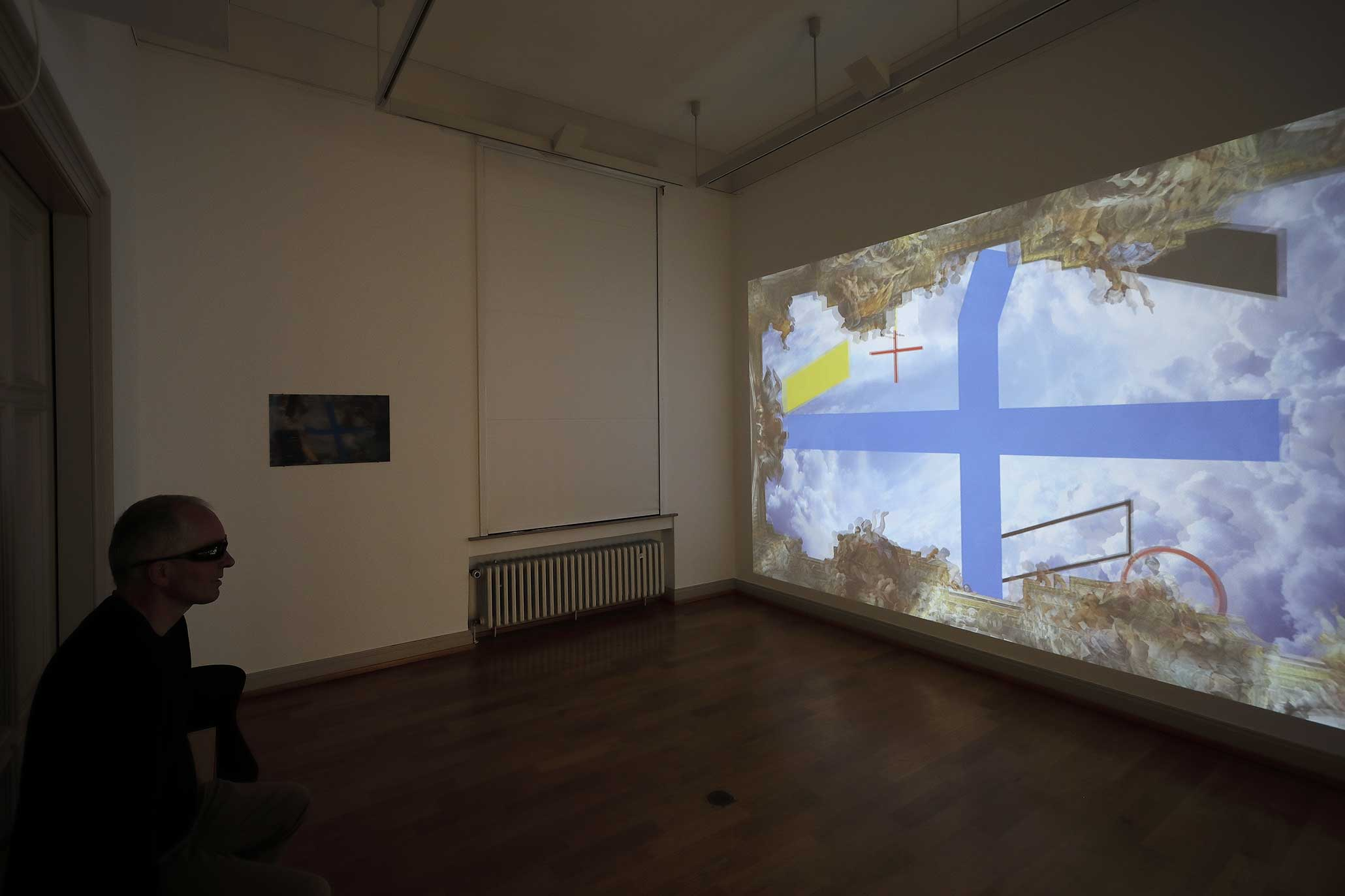 Barocke Versprechen und Konstruktive Zweifel , Einzelausstellung Myriam Thyes, 'Intermezzo' Kunstmuseum Ahlen 2019. Ansicht: Kreuz und Fläche zu Raum.