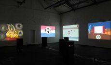 Flag Metamorphoses, partizipatives Projekt von Myriam Thyes, Ausstellung mit 6 Projektionen, Künstlerzeche Unser Fritz, Herne, 2012