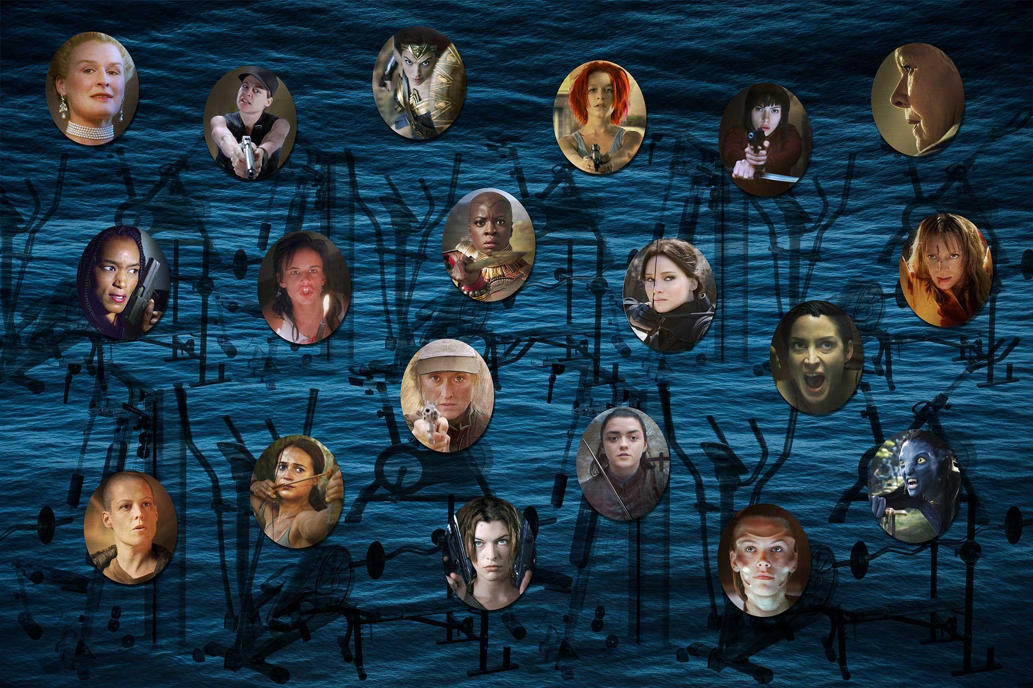 Myriam Thyes, Galerie der Starken Frauen (2018-2019), Portrait-Serie, bearbeitete Standbilder aus Spielfilmen. Druck auf Alu-Schicht, ovale AluDiBond-Platten, je 55 x 45 cm. Visualisierung der Fotoserie, glänzende Portraits auf matter Textiltapete.