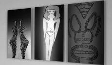 Global Vulva Plates (2014), Steinzeitliche Statuette (Europa) / Göttin (Ägypten) / Ritz-Zeichnung, Altsteinzeit (Tschechien).