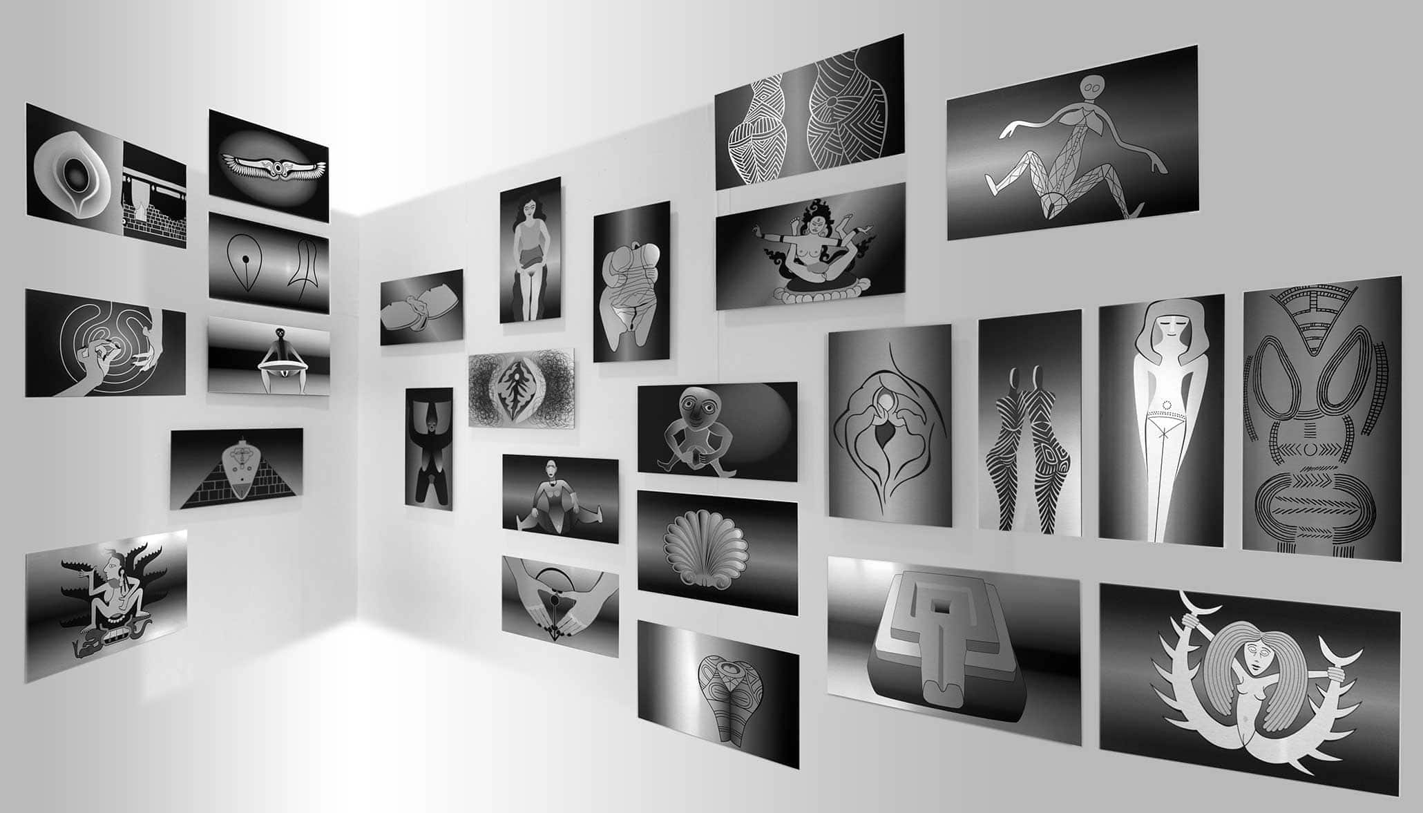 Global Vulva Plates (2014), 35 Bildtafeln, Tintenstrahl-Druck direkt auf Aluminium, je 27 x 48 cm.