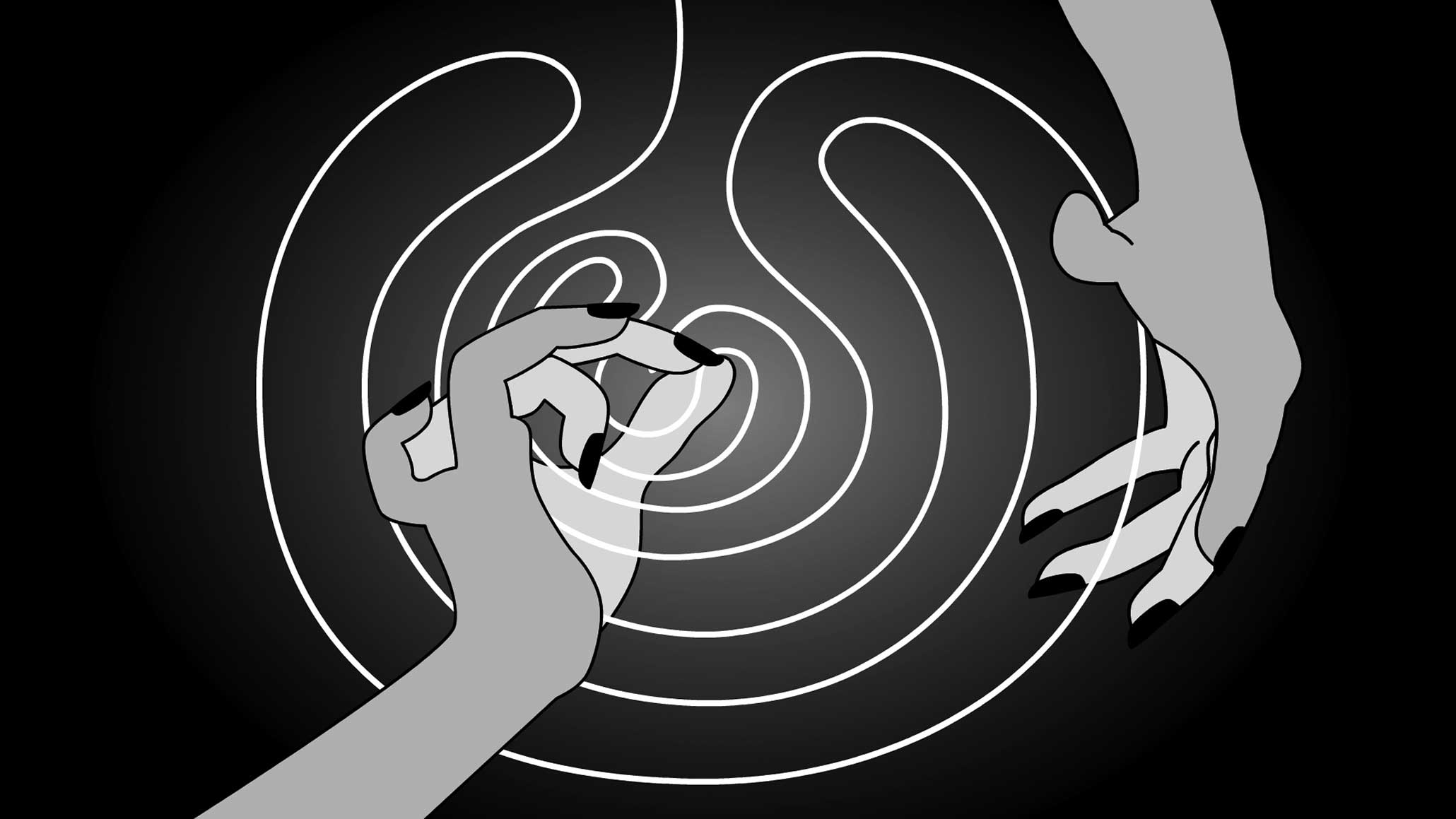 Global Vulva (2009), Flash animation / HD video, b/w, stereo, 6:20, loop. Director, script, graphics, animation: Myriam Thyes. Music: Kristina Kanders. Video still.