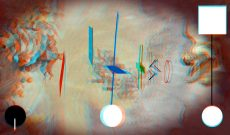 Myriam Thyes, Kreuz und Fläche zu Raum (2017). 3D-Still für Stereo-Brille (Rot / Türkis).