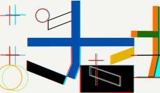 Myriam Thyes, Kreuz und Fläche zu Raum (2017) Stereoskopische 3D-Animation, HD Video, 8:05, Loop, Farbe, stereo, für Projektion an die Decke. 3D-Still für Stereo-Brille (Rot / Türkis).