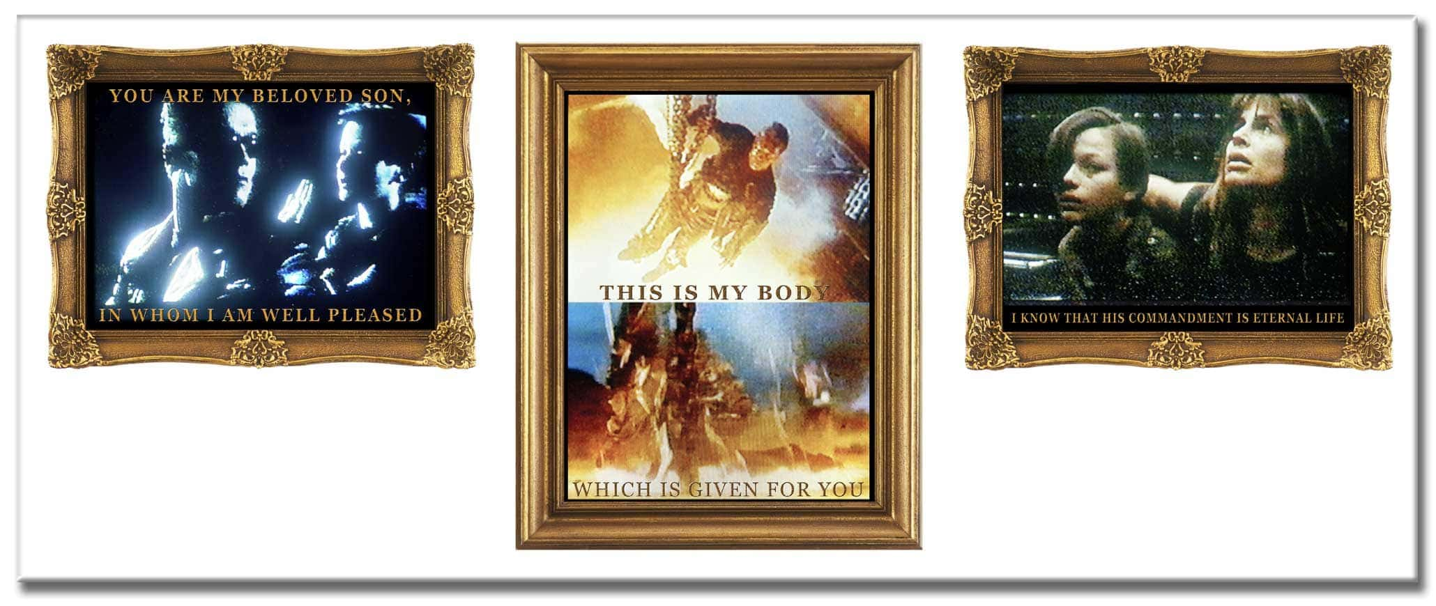 Restoration (1996-2008), two digital photo-collages as triptychs, each 110 x 260 cm (or six single images), c-prints behind acrylic glass, on aluminium. Titles of this collage: Father and Son   Saviour   Mother and Son.